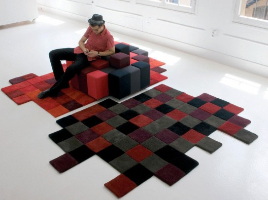 Do Lo Rez Rug Collection Carries The Same Pixilated Theme Into Floor  Fashion. The Rug Features Squares In Different Colors And Three Different  Depths That ...