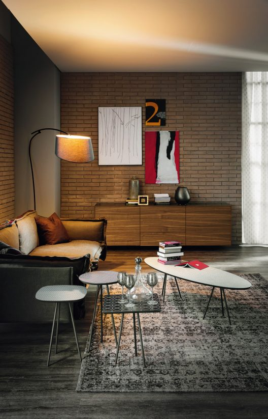 Oxford sideboard, Kos occasional table collection and Flag floor lamp by Cattelan Italia