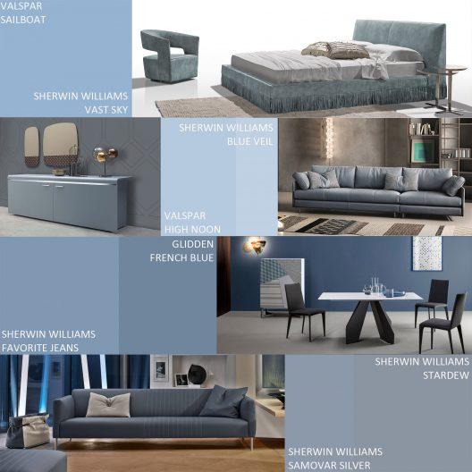 Blue-grey modern interiors
