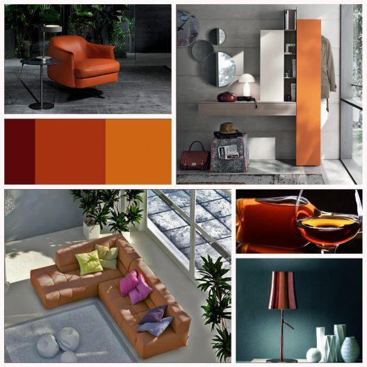 Modern interiors featuring deep orange shades