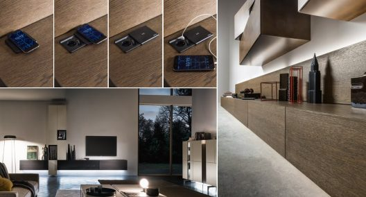 Wall units with integrated dockstations by Presotto