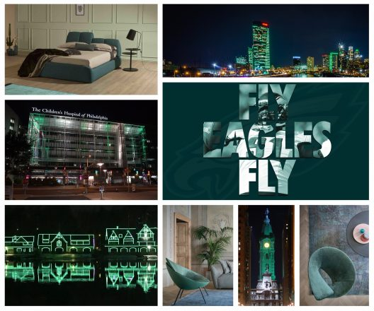 Modern interiors in Philadelphia Eagles midnight green