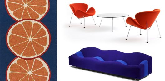 Orange and navy blue color combination in modern interiors