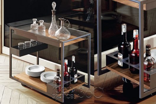 Mojito Wood mobile bar trolley by Cattelan Italia